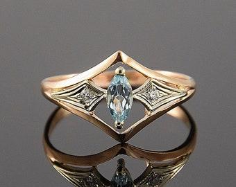 Art deco ring, Topaz ring, Gemstone ring, Geometric ring, Promise ring, Antique ring, Birthstone ring, Marquise ring, Rose gold ring