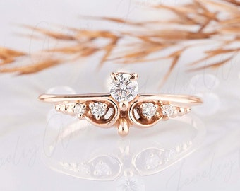 Vintage style victorian promise ring for her, Unique rose gold womens art deco engagement ring, Dainty minimalist engagement ring for her