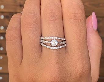 Promise rings, Engagement rings, Women wedding rings, Silver rings set, Elegant rings set, Women promise ring, Promise ring for her