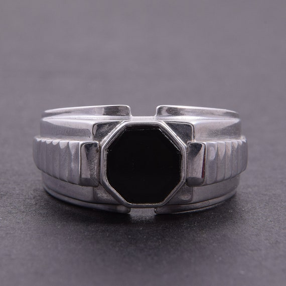 306ffff153ce Men ring silver Onyx ring Black stone ring Gift for him | Etsy