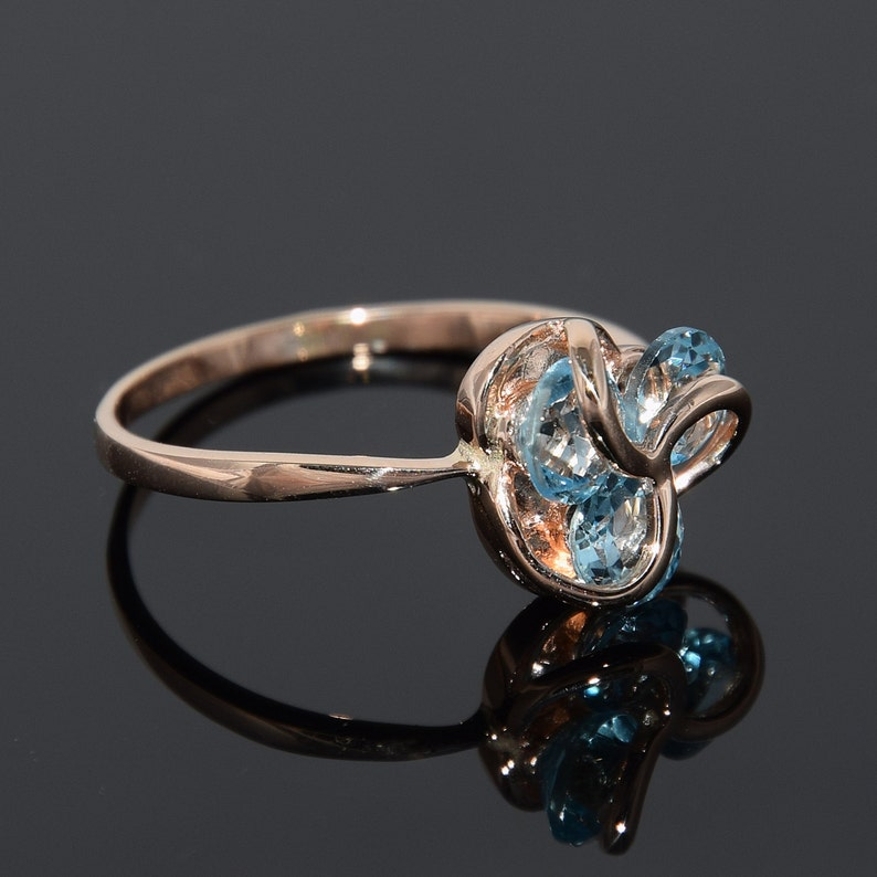 Unique ring gold Birthstone ring 3 stone ring Victorian ring Geometric ring Gemstone ring Three stone ring Topaz ring Edwardian ring