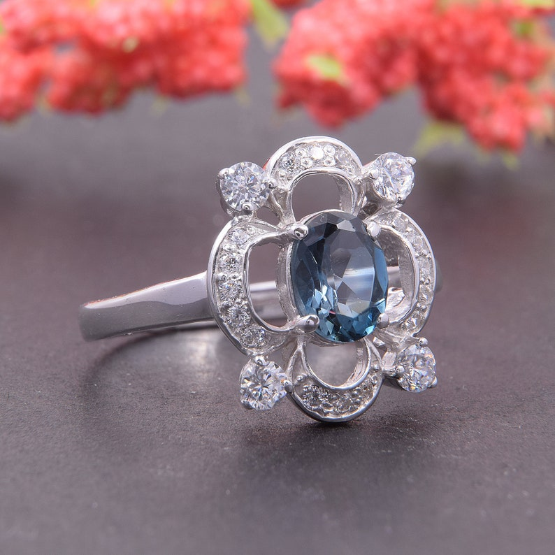 Unique ring Women ring silver London blue topaz Art deco ring Topaz ring Geometric ring Antique ring Silver ring Victorian ring