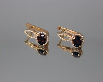 Garnet earrings, Gemstone earrings, Birthstone earrings, Gold earrings, Women earrings, Halo earrings, Modern earrings, Rose gold earrings