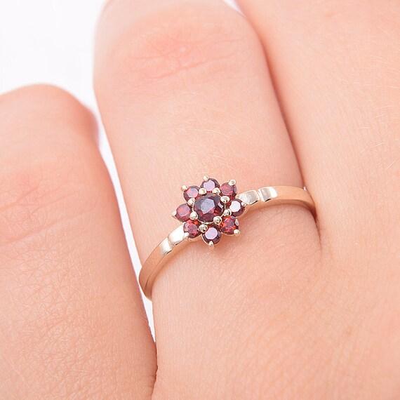 Granat Ring Gelbgold Ring Promise Ring Edelstein Ring Etsy