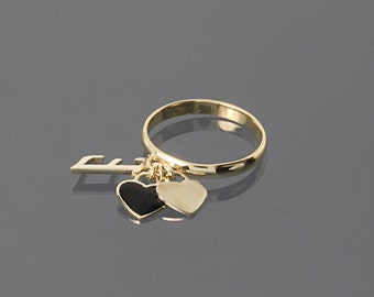 Personalized ring, 14k gold ring, Custom ring, Name ring, Heart ring, Gold band ring, Letter ring, Yellow gold ring, Yellow band ring