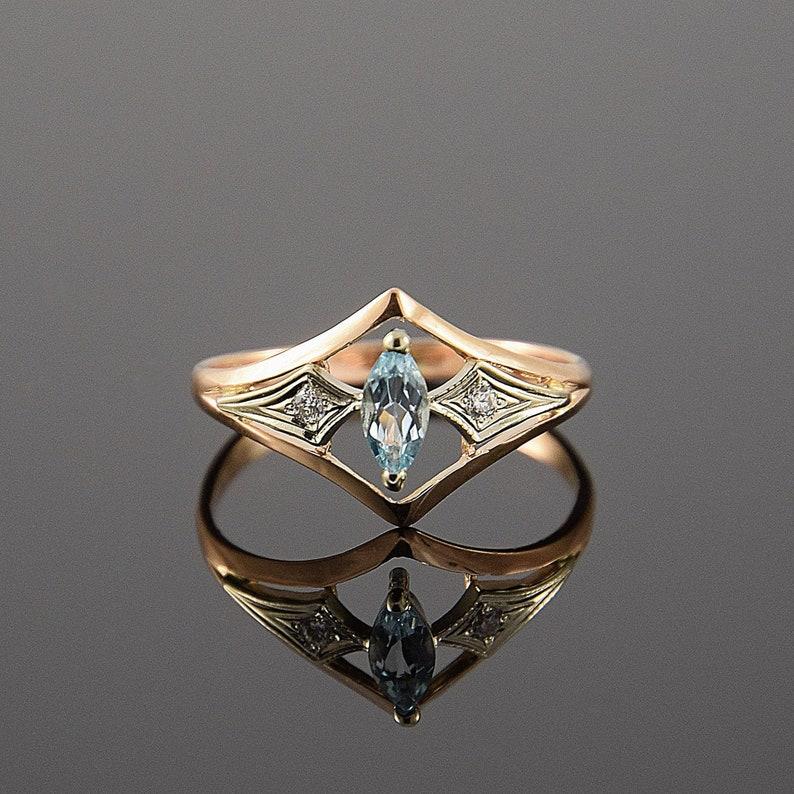 Art deco ring Topaz ring Gemstone ring Geometric ring image 1