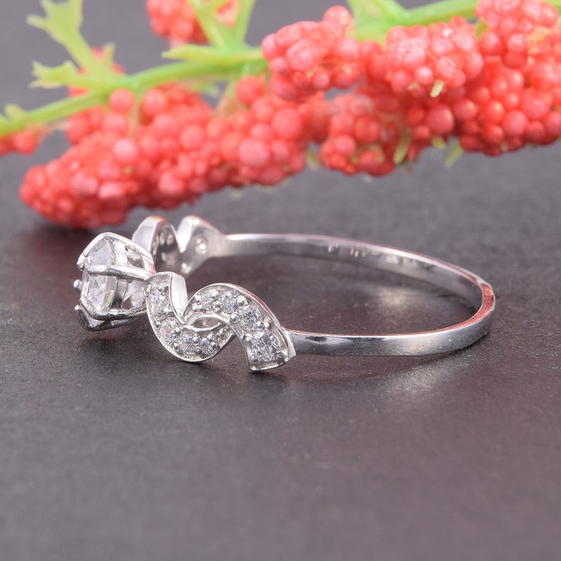 Promise Ring For Her Women Silver Ring 0.5 CT Round Cut Ring Art Deco Engagement Ring Antique Style Ring Promise Ring Silver