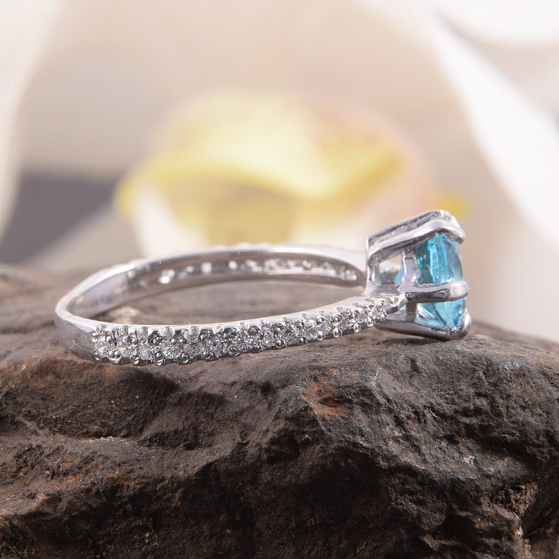Art deco rings Topaz silver ring Silver rings set Promise silver rings Bridal rings set 1 ct round cut rings Engagement rings
