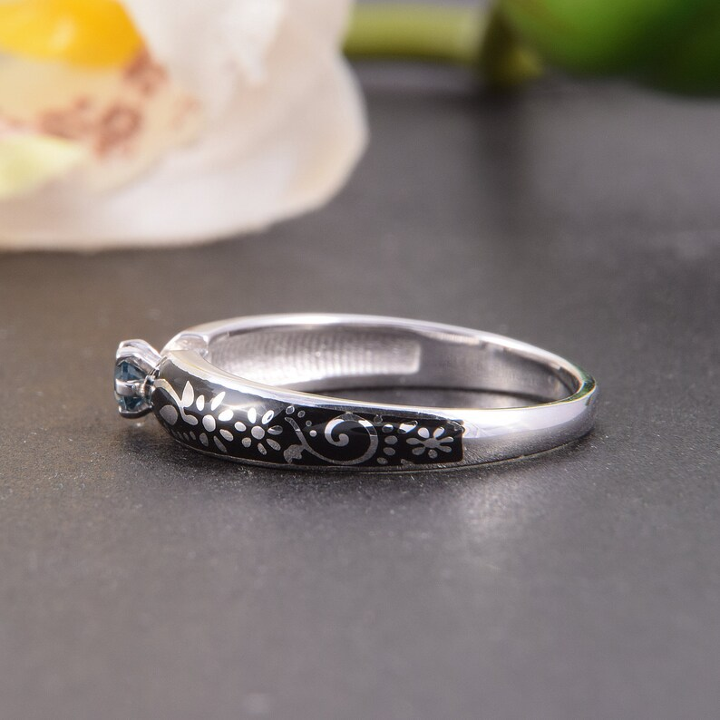 Women promise ring Art deco engagement ring Topaz ring Antique style ring Gold promise ring White gold ring Unique engagement ring