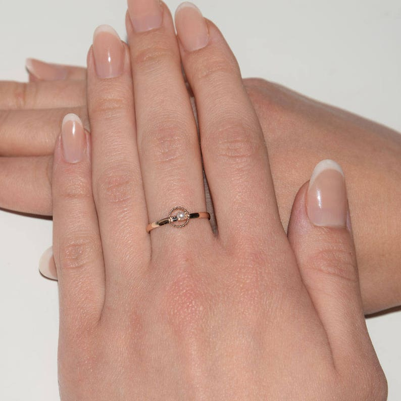 Dainty ring White pearl ring Pearl ring Minimalist ring Rose gold ring Gold ring for her,June birthstone Delicate ring Solitaire ring