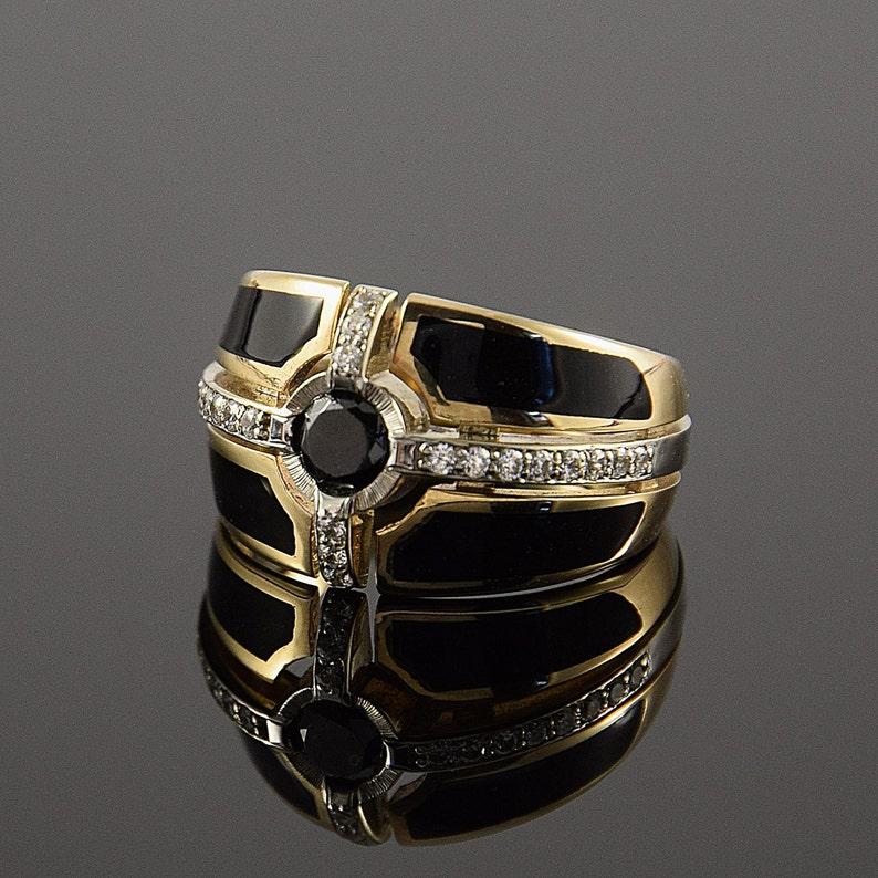 Men signet ring Gold signet ring Geometric ring Unique men ring Signet ring Black stone ring Men ring gold Black ring men