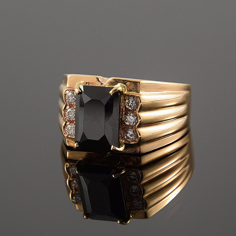 Black Ring Men Gold Ring Men Signet Ring Men Black Stone Etsy