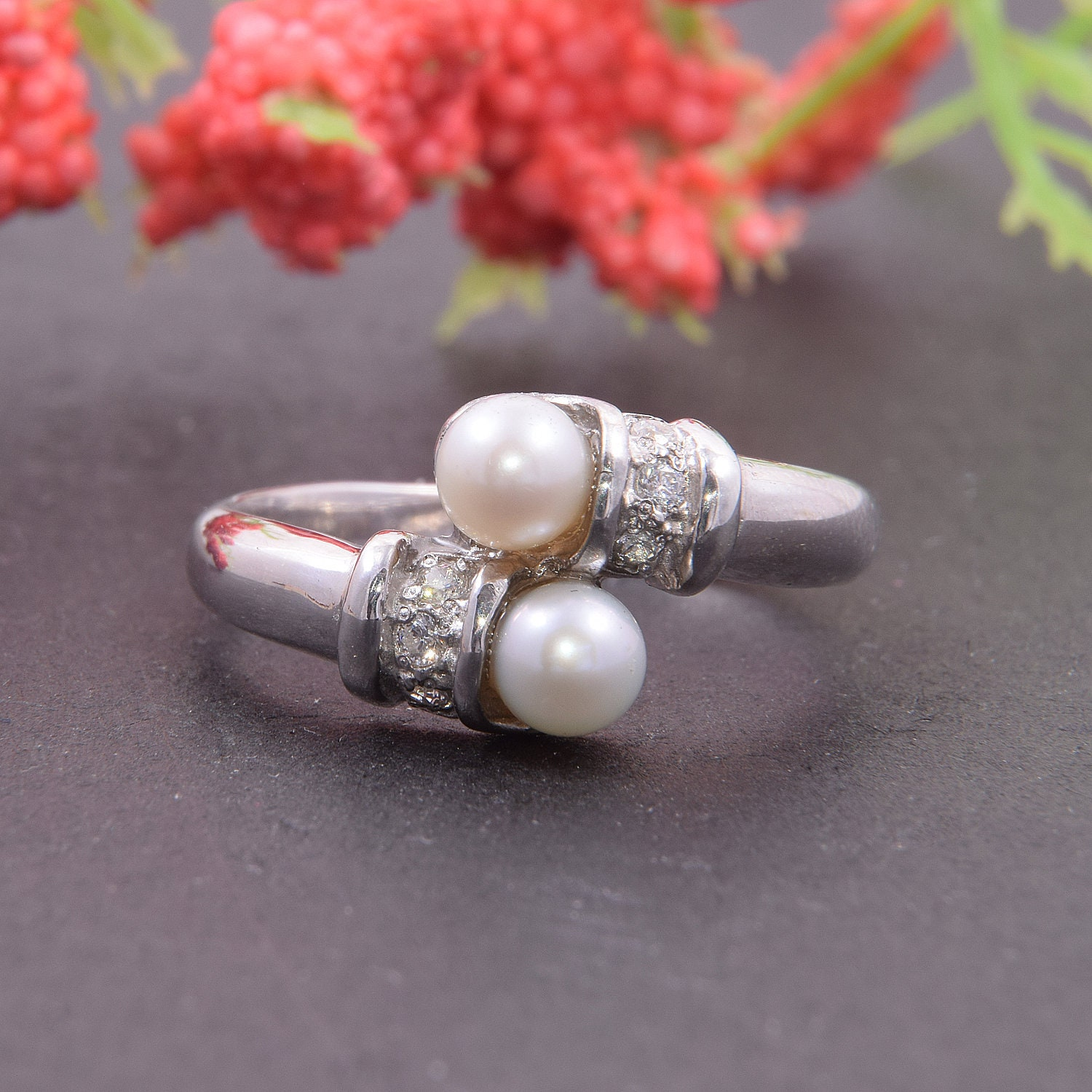 Pearl ring, Stackable ring, Elegant ring, Woman silver ring, Pearl silver ring, White pearl ring, Unique silver ring, Promise silver ring