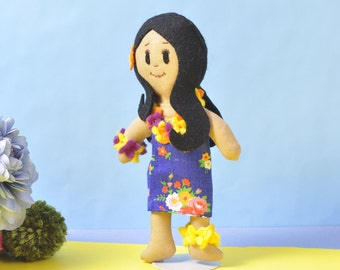 996ae6108 Cloth doll dressed in traditional Hawaiian costume - flowered sarong and  leis - embroidered face and long black hair - child's birthday