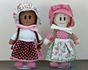 Hearts and flowers for Valentines day - pocket size doll pretty in pink - bonnets and braids - toddlers birthday gift - pioneer rag doll
