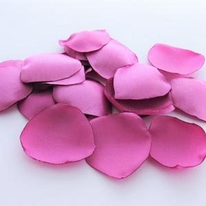hot pink rose petals satin rose petals wedding decor proposal ideas flower girl petals persian pink wedding flowers romantic accents