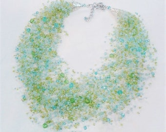 Blue-Green Air Necklace with Multiple Strands Sea Breeze - glass seed beads - Handmade necklace