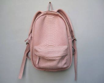 5677a00d90 Light Pink Python Leather Mini Backpack