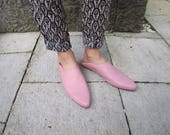 Baby Pink Leather Slippers Women, Leather Pointed Toe Flats, Handmade Leather Mules Flats, Leather Slip On Slide Shoes With Fold Back