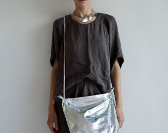 Silver Leather Cross Body Bag,  Slouchy Soft Leather Shoulder Bag, Silver Leather Women Purse,  Evening Leather Clutch Bag