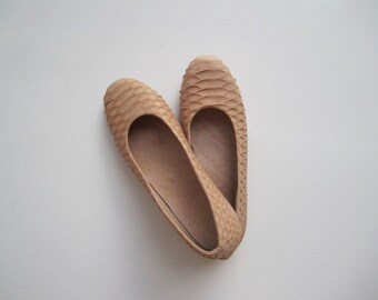 Beige Color Python Leather Ballet Flats, Leather Shoes, Leather Ballet Slippers, Wedding Flats, Size 4-13 US