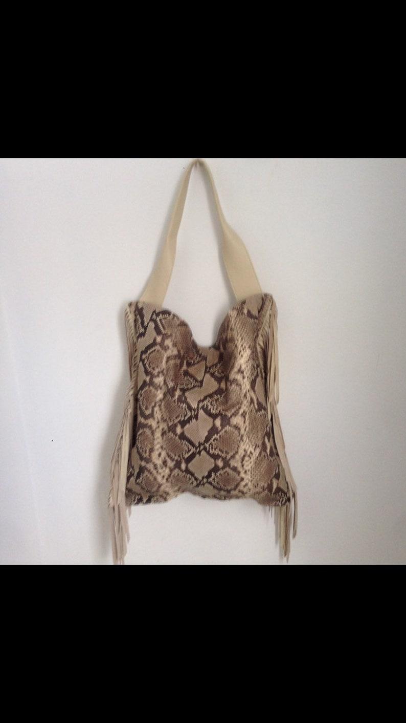 Slouchy Boho Fringe Bag Beige Python Leather Fringe Tote Bag