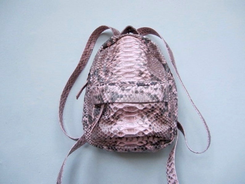 19368c98bc Dusty Pink Python leather Mini Woman Backpack Small Leather