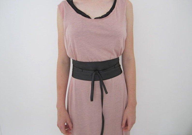 76ceccba487 Ceinture en cuir souple noir les femmes en cuir Wrap ceinture