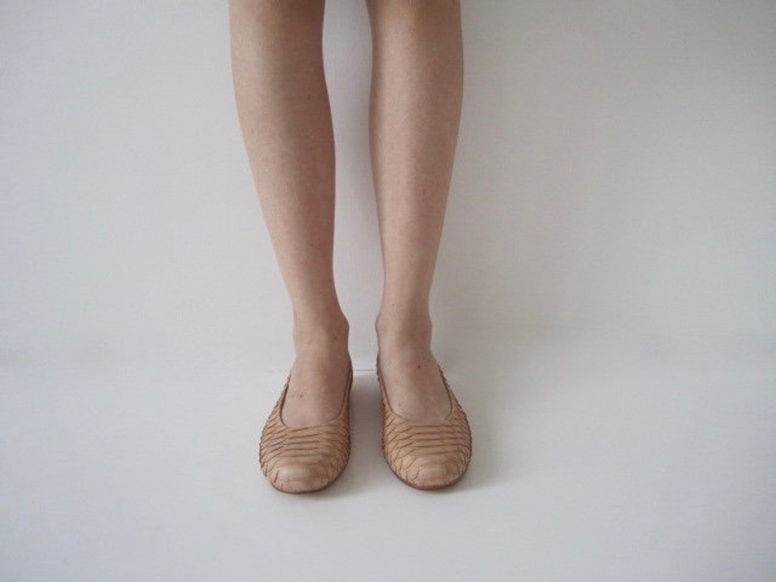 sale, nude python leather ballet flats, size 8 us
