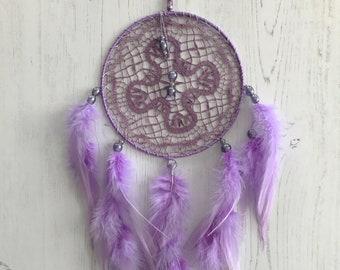 Lavender Doily Dreamcatcher - doily dream catcher, purple dream catcher, boho dreamcatcher, lavender dreamcatcher, lavender dream catcher
