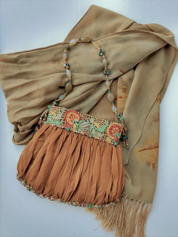 Mary Frances Purse, Vintage Silk Purse, Beaded Pur