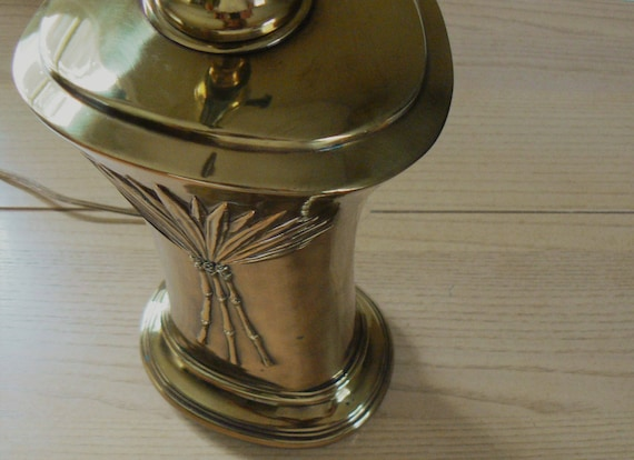 Vintage Brass Table Lamp Brass Lamp Base Bamboo Design Etsy