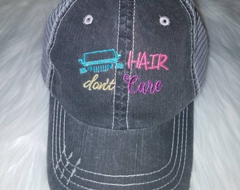 """Image with """" Hair Dont Care""""  -  Gray Distressed Trucker Hat"""