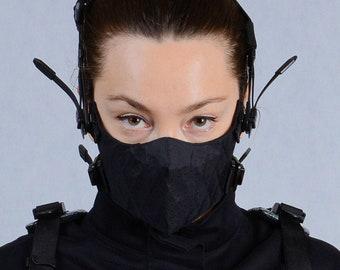 Cyberpunk face mask Techwear black mask Burning man mask Futuristic steampunk mask Reusable x-pac cosplay filter mask Burningman festival
