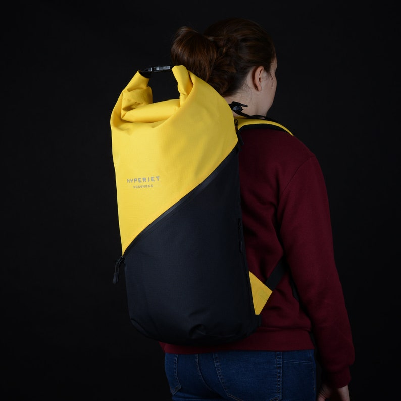 Black roll top backpack Christmas gift for girlfriend  Traveller gift  Laptop backpack  Travel backpack for women Cyclist gift boyfriend