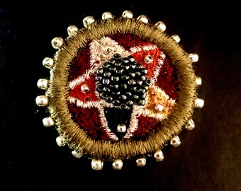 Round Embroidered Brooch
