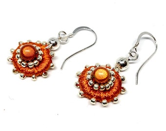 Small Round Embroidered Earrings