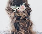 Flower Hair comb, Blush Bridal hair clip, Wedding flower hair piece
