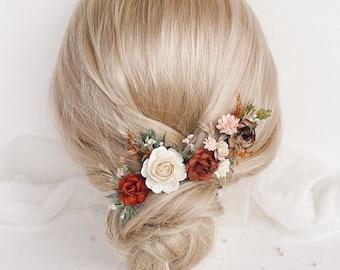 Flower hair pins, Terracotta flower hair pins, Fall flower hair clip, Burnt orange Wedding, Brown Rustic wedding