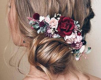 Flower hair comb Marsala Wedding Hair piece Floral comb for bride Flowers for hair Flower hair accessories for girls women Party Boho style
