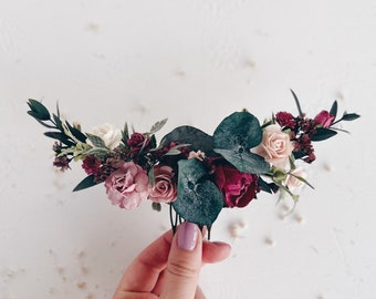 Flower hair comb, Wedding flower hair clip, Burgundy flower hair comb, Bridal flower hair comb, Wedding flower hair accessories
