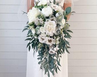 Cascade Wedding bouquet, White Bouquet, Cascading Bridal Bouquet, White Wedding Bouquet, Sage wedding Bouquet