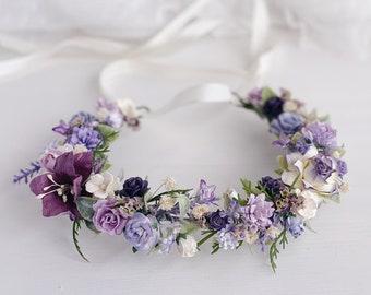 Purple Pink Flower Crown Lavender Flower Crown Baby Flower Crown Floral Crown Princess Flower Crown Spring Flower Crown