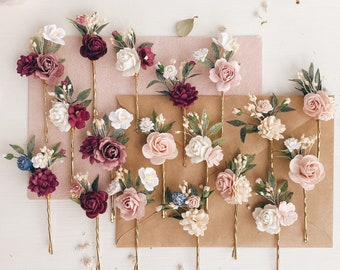 gold and navy,SET of 3,veil pins,homecoming hair pins,winter prom,holiday wedding,petite,mini rosebuds Navy and burgundy hair pins