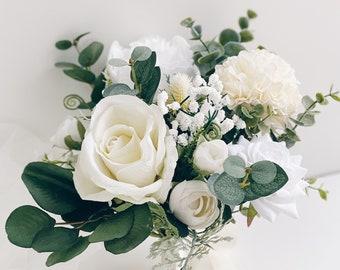Wedding bouquet, Bridesmaids bouquet, White Bridal Bouquet, White Peony Bouquet, Eucalyptus wedding bouquet, Silk flower Bouquet