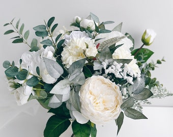 Wedding bouquet, White Bridal Bouquet, White Peony Bouquet, Wedding flowers, Eucalyptus wedding bouquet, Silk flower Bouquet, Bridesmaids