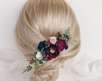 Flower hair comb, Burgundy flower hair comb, Flower hair clip, Bridal flower hair comb, Wedding flower hair clip