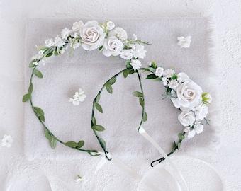Flower girl crown, white flower crown, flower crown wedding, flower crown for baby, flower crown girls, flower crown for baby