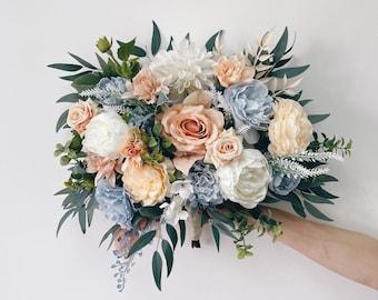 Wedding bouquet, Dusty Blue Bouquet, Peach Bridal Bouquet, Blue Wedding Bouquet, Eucalyptus Bouquet