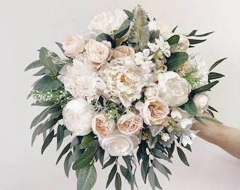 Wedding bouquet, White Bridal Bouquet, Sage green bouquet,Bridesmaids bouquet, White Peony Bouquet, Eucalyptus wedding bouquet, Silk Bouquet